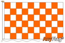 TANGERINE AND WHITE CHECK ANYFLAG RANGE - VARIOUS SIZES